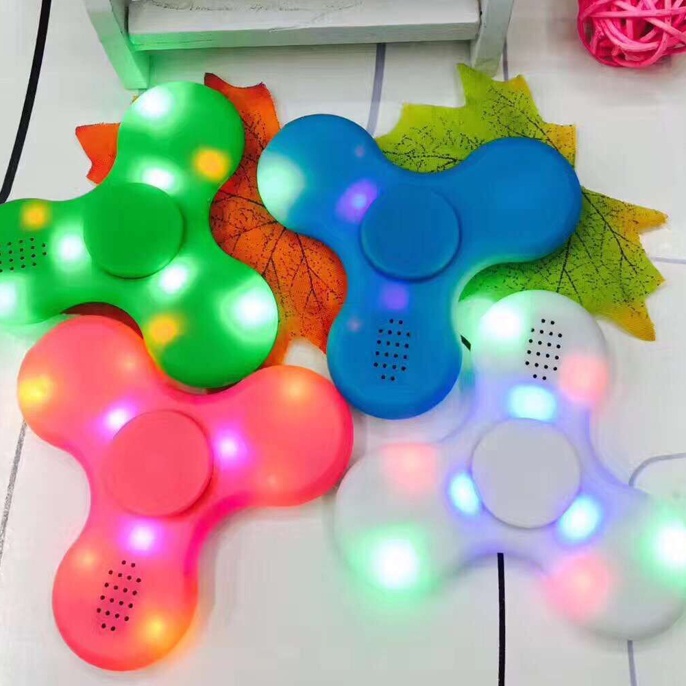 LED Light Bluetooth Speaker Anti-Stress Fidget Hand Tri Spinner EDC Gyro Toy