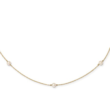 14K Yellow Gold Plated Madi K 4-5mm White Round Fw Cultured Pearl 5-Station Necklace