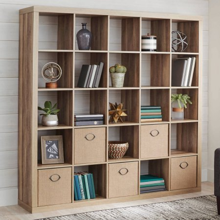 Better Homes And Gardens 25 Cube Organizer Room Divider, Weathered