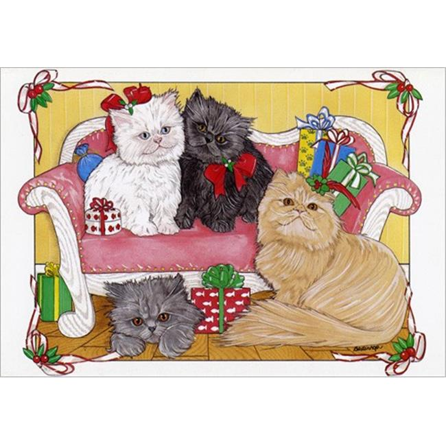 Pipsqueak Productions C470 Persian Kitties Cat Christmas Boxed Cards - Pack of 10