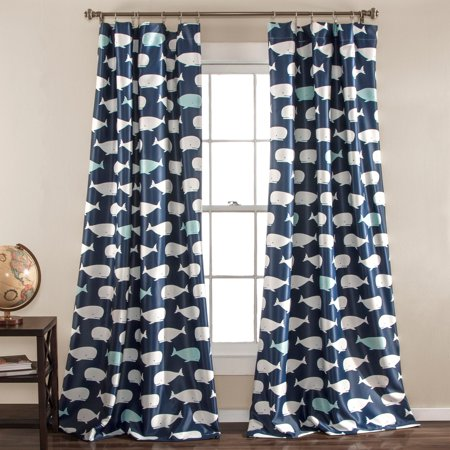 "2pc 84""x52"" Whale Window Curtain Navy - Lush Décor"