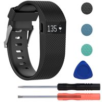 Replacement Silicone WristBand Strap Bracelet w/Tool for Fitbit Charge HR Large (Black)