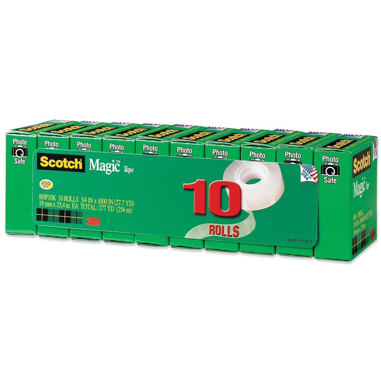 Scotch Magic Office Tape Refill 10 Pack, 3/4in. X 1000in. Per Roll, Clear, 10 Rolls/Pack