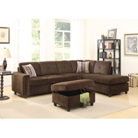 ACME Belville Reversible Sectional Sofa with 2 Pillows, Chocolate Velvet