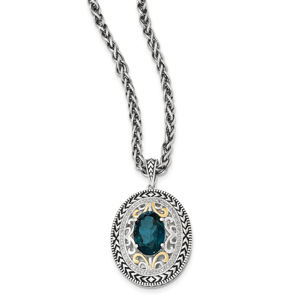 """14K Gold and 925 Sterling Silver Two-Tone (0.07cttw) with London Blue Topaz Necklace -18"""" by"""