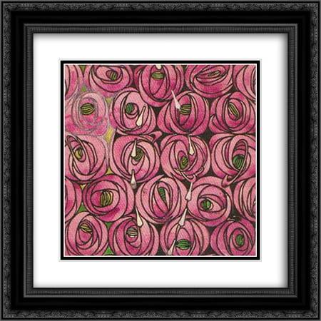 - Charles Rennie Mackintosh 2x Matted 20x20 Black Ornate Framed Art Print 'Roses'