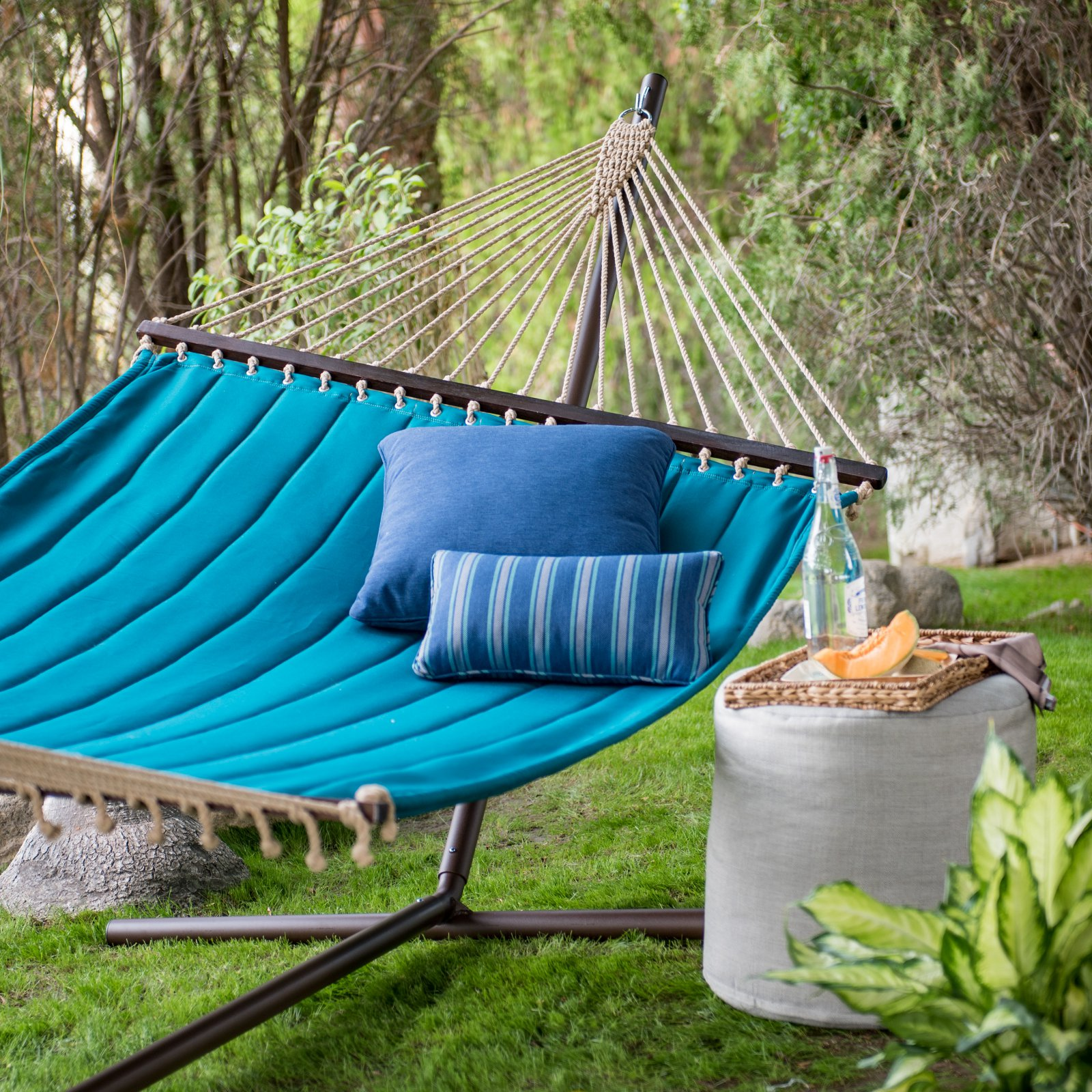 Coral Coast 13 ft. Deep Turquoise Quilted Double Hammock by