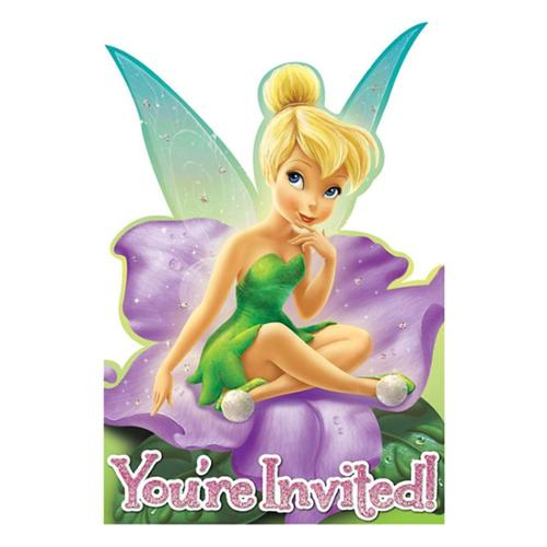Tinkerbell Postcard Invitations (8 Pack) - Party Supplies