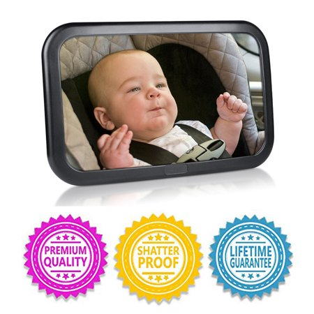 Top Knobs Baby Mirror for Car - Safely Monitor Infant Child in Rear Facing Car Seat - Wide View Shatterproof Adjustable Acrylic 360°for Backseat - Best Newborn Car Seat