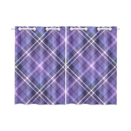 MKHERT Purple Plaid Blackout Window Curtain Kitchen Curtain 26x39 inch, 2 Panels ()