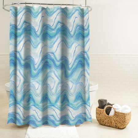 Splash Home Ozana Marble Polyester Fabric Shower Curtain 70 X 72 Aqua