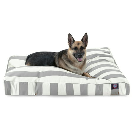 Majestic Pet Vertical Stripe Rectangle Dog Bed Treated Polyester Removable Cover Gray Extra Large 50
