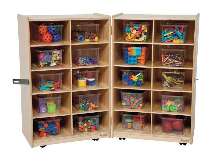 Superieur Kidu0027s Play Folding Vertical Storage Unit W 20 Clear Trays