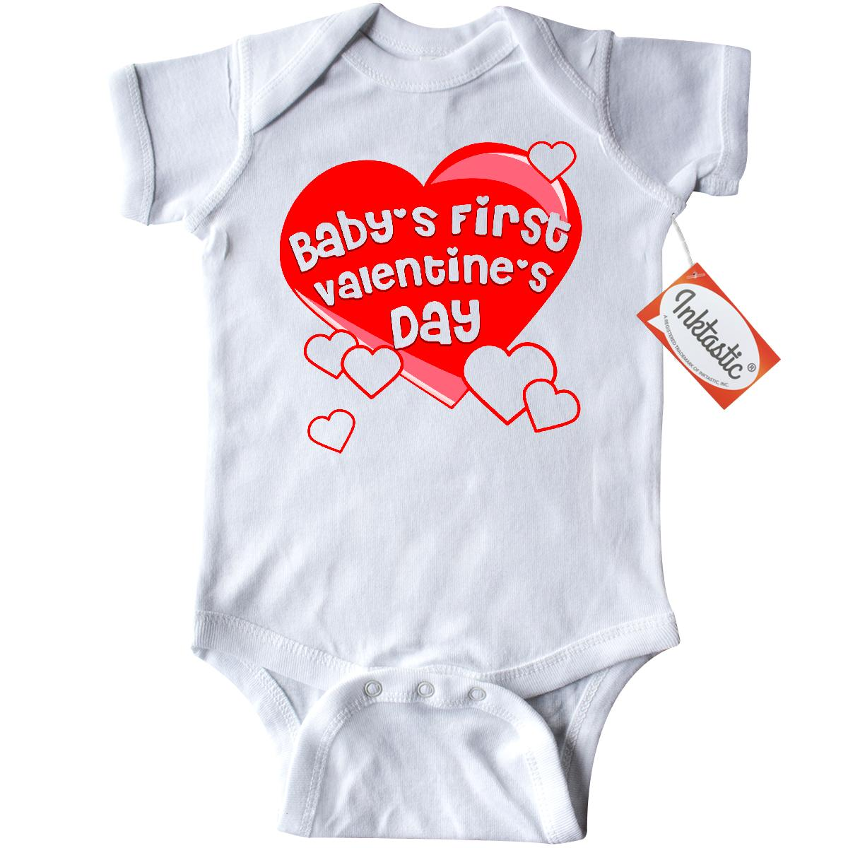 Inktastic Baby's First Valentine's Day Infant Creeper Baby Bodysuit hearts adorable 1st gift one-piece