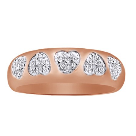 0.0.3 Ct Round White Natural Diamond Heart Wedding Ring in 14k Rose Gold Over Sterling Silver Ring Size : 4