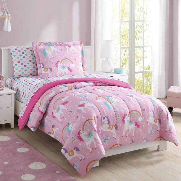 Your Zone Rainbow Unicorn Bed In A Bag, Pink Unicorn Bedding Twin