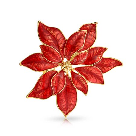 Large Flower Christmas Holiday Poinsettia Brooch Christmas Pin Red Enamel Gold Plated Alloy (Enamel Flower Pin Brooch)