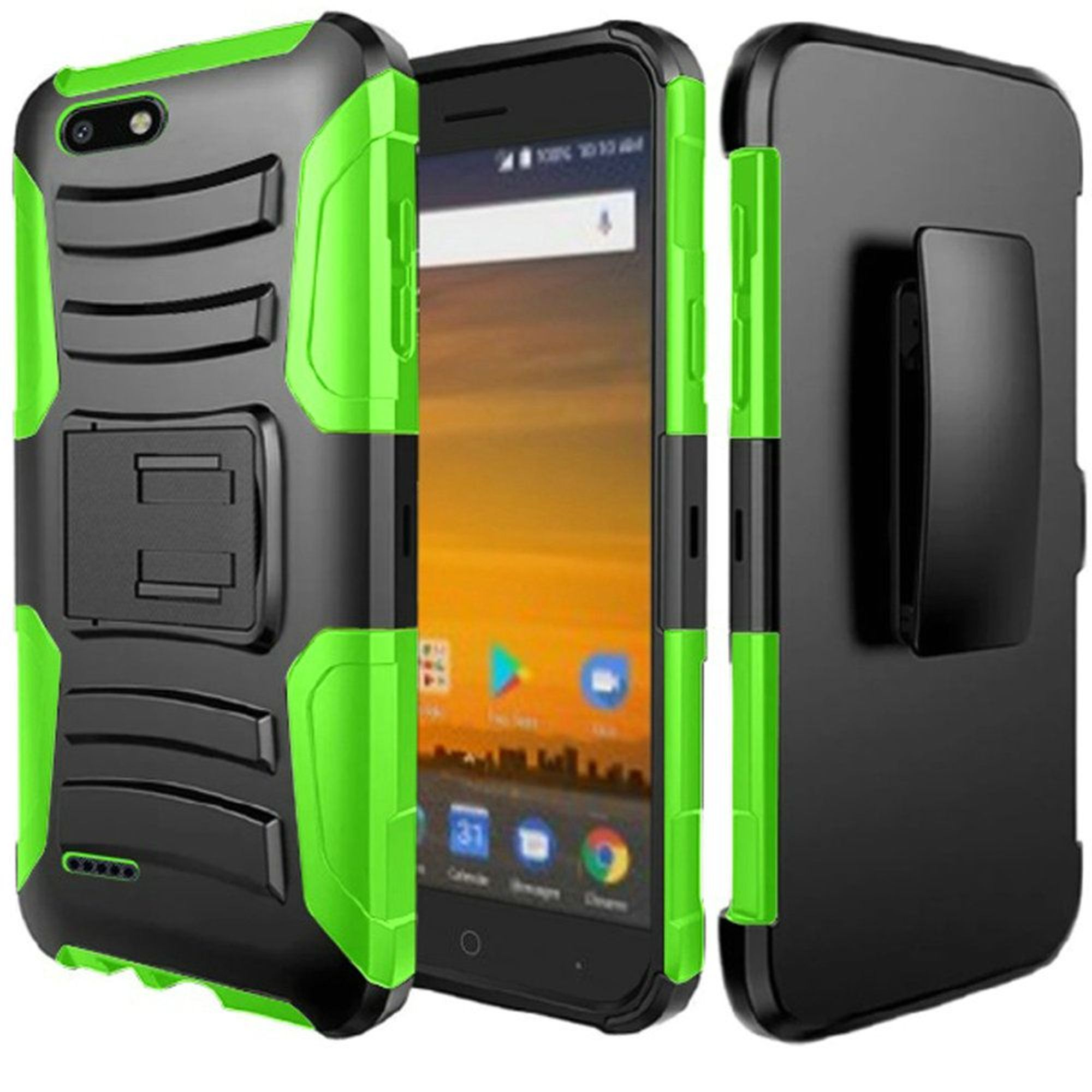 ZTE Blade Force Case, by HR Wireless Dual Layer [Shock Absorbing] Hybrid Stand Rubber Coated Hard Plastic/Soft Silicone Case Cover Holster For ZTE Blade Force, Black/Neon Green