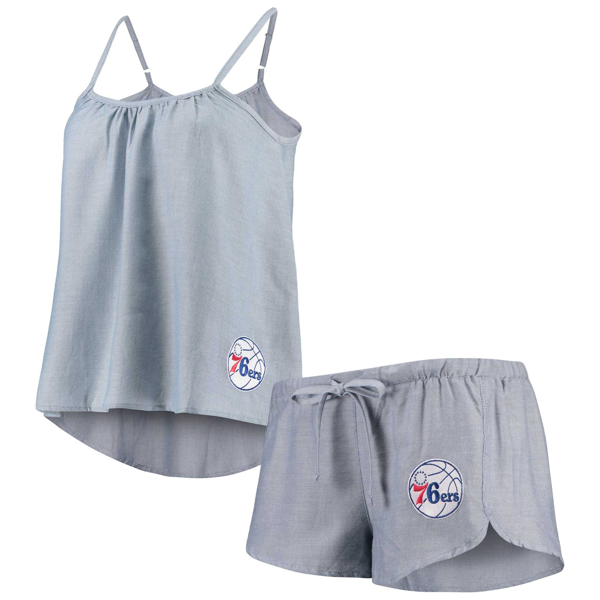 Philadelphia 76ers Concepts Sport Women's Breakaway Chambray Tank Top and Shorts Sleep Set - Blue