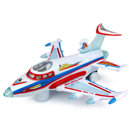 King Air Aviator Battery Operated Kid's Bump and Go Toy Plane w/ Fun Flashing Lights,