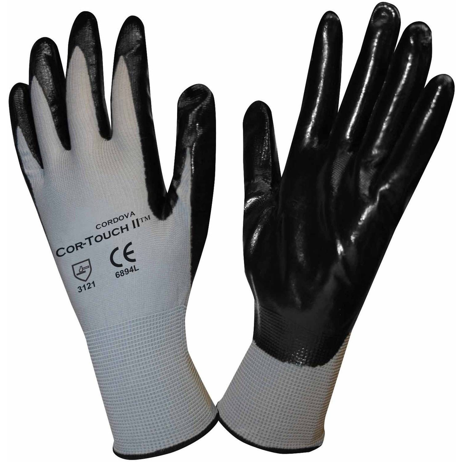 Cor-Touch II Polyester Work Gloves with a Black Flat Nitrile Coating, Pack of 12 Pairs