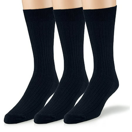 Mens Crew Socks 3-Pack Soft Ribbed Cotton Crew Dress Socks