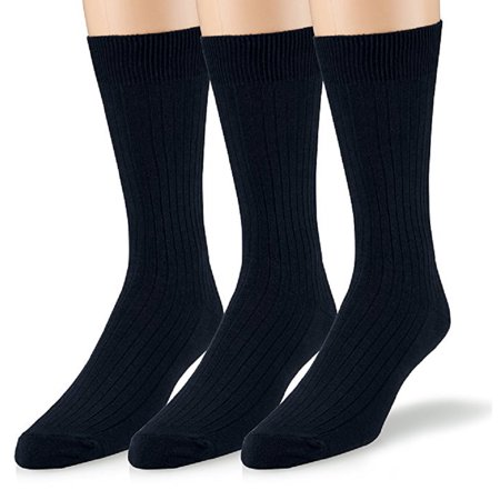 Mens Crew Socks 3-Pack Soft Ribbed Cotton Crew Dress - Crew Ribbed Dress Socks