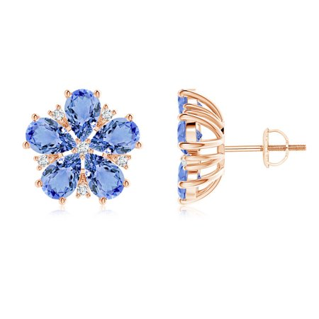 Pear-Shaped Tanzanite and Diamond Flower Stud Earrings in 14K Rose Gold (6x4mm Tanzanite) - SE1033TD-RG-A-6x4