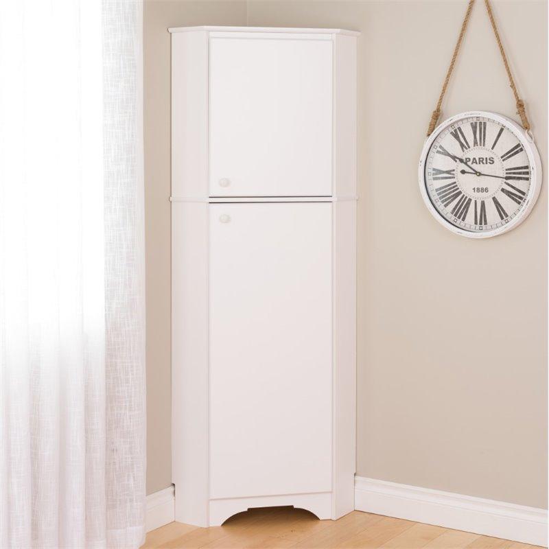 Prepac Elite Tall 2 Door Corner Storage Cabinet White