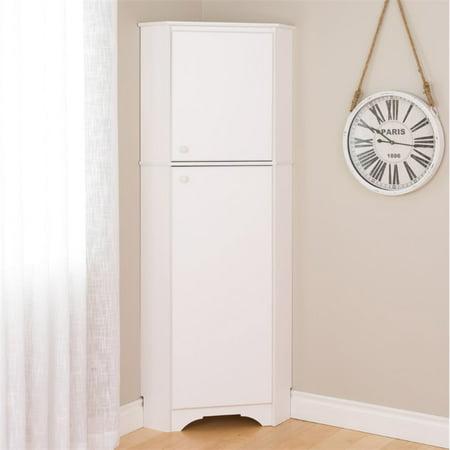 - Prepac Elite Tall 2-Door Corner Storage Cabinet, White