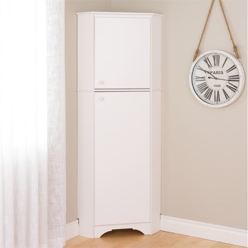 Prepac Elite Tall 2-Door Corner Storage Cabinet, White