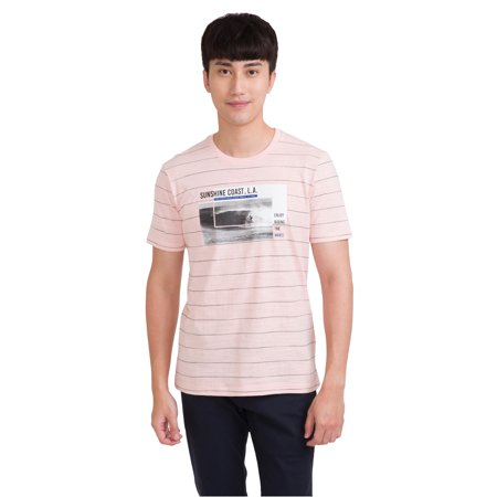 bossini Prime Mens Short Sleeve SUNSHINE COAST Striped Tee M,US Size 38 - Pink](Pink 38)