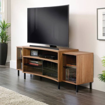 Sauder Curved Fine Walnut Entertainment Credenza for TVs up to 65
