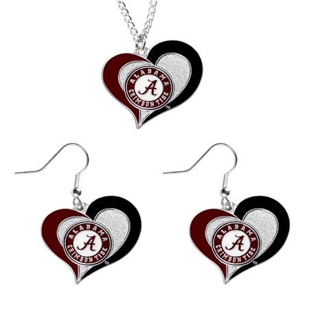 - Alabama Crimson Tide NCAA Swirl Heart Pendant Necklace And Sports Team Logo Earring Set Charm Gift
