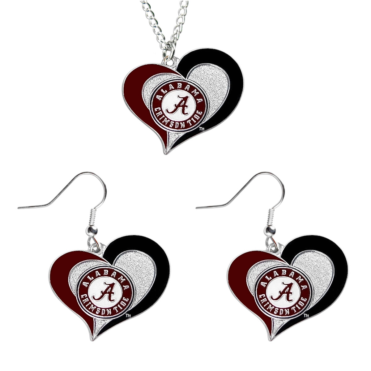 Alabama Crimson Tide NCAA Swirl Heart Pendant Necklace And Sports Team Logo Earring Set Charm Gift