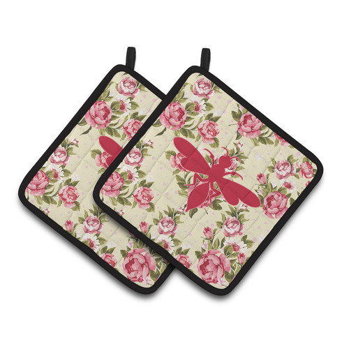 Caroline's Treasures Wasp Shabby Elegance Chic Roses Potholder (Set of 2)