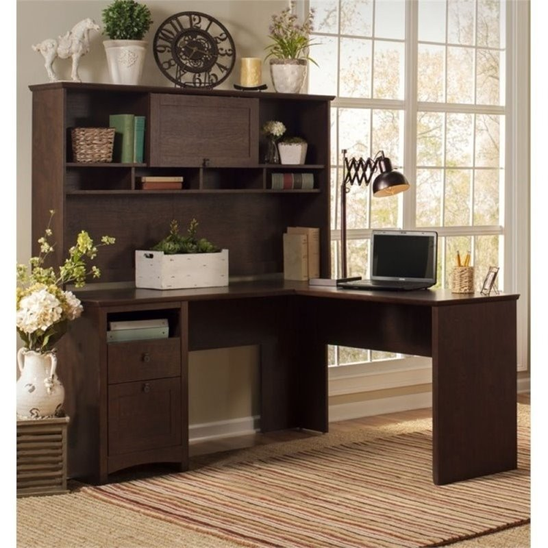 "Bush Buena Vista 60"" L Shape Computer Desk with Hutch in Cherry"