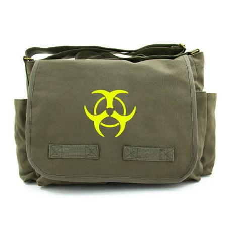 Biohazard Symbol Canvas Shoulder Messenger Laptop School