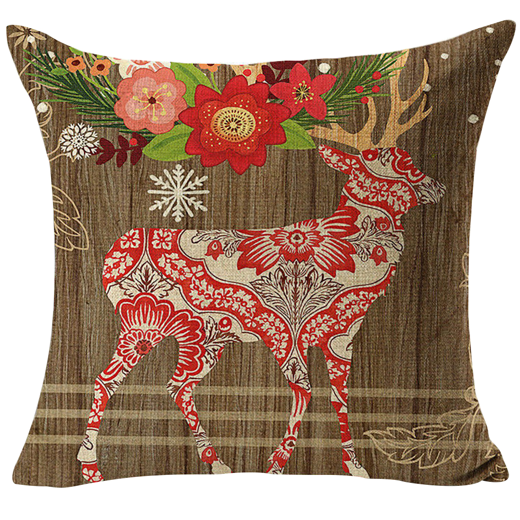 Christmas Pillow Case, Justdolife Cute Xmas Print Decorative Throw Pillow Cushion Cover Christmas Decoration for Couch Bedding 18'*18 without Insert)
