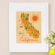 Petit Collage California Map, Small Framed Art