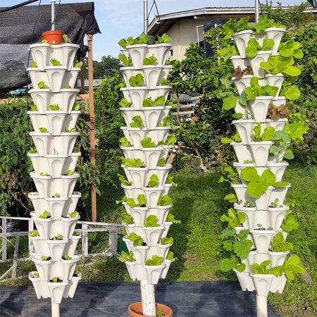 Stack-up Type Stereoscopic Flowerpot Strawberry Plant Pot for Flower Vegetables Decoration green