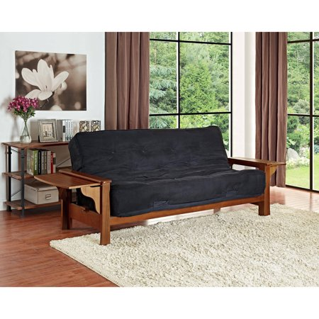 Dhp Brooklyn Wood Arm Futon With 8 Black Coil Mattress