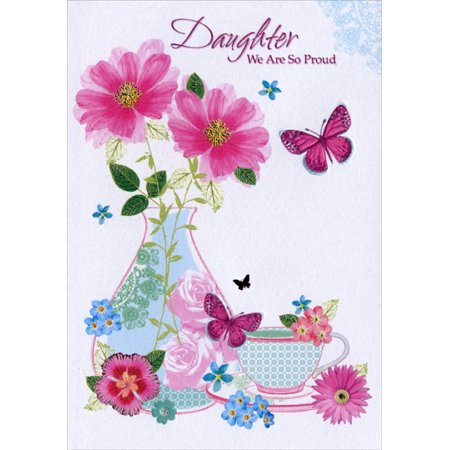 Designer Greetings Butterflies, Vase and Tea Cup: Daughter Mother's Day Card