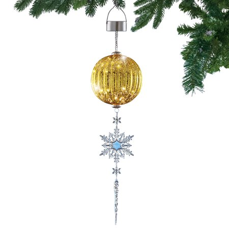 Festive Shimmering Ornament with Crystal Snowflake & Icicle Solar Powered Hanging Light, Gold - Hanging Snowflakes