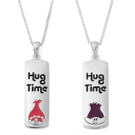 Silver-Plated Trolls Breakaway Hug Time Pendant, 18