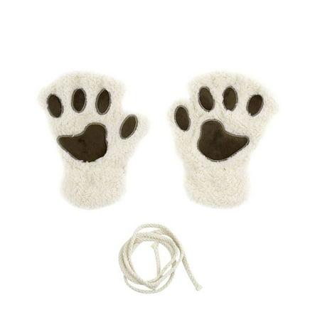 Sofe Damen Winter Claw Handschuhe Fluffy Bear Paw Mittens Lady Half Finger Gl ξζ