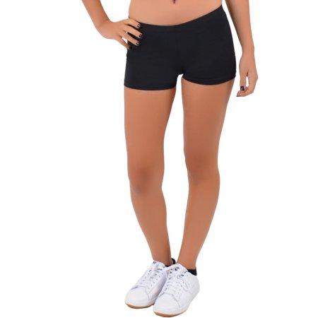 Women's NYLON Stretch Booty Shorts - Large (8-10) / Black (Cheerleader Booty Shorts)