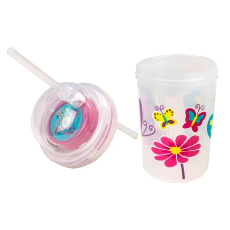 Sip Straw - Sip & Spin Fun Straw Cup, Butterflies Fly Around When You Drink, by nuSpin Kids