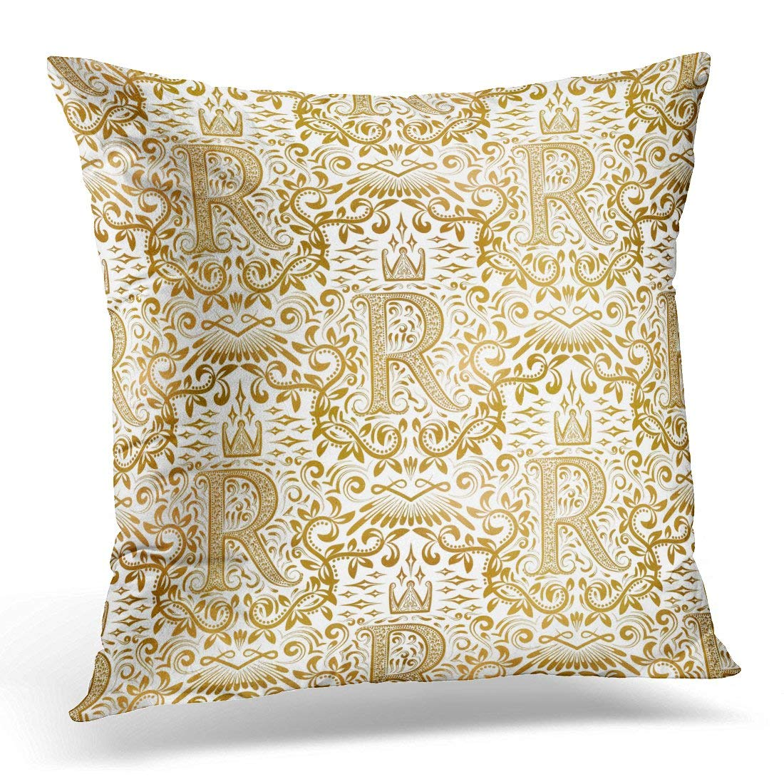 USART Repeatable Golden White Vintage Gold Royal Classic Baroque Antique Abstract Pillow Case Pillow Cover 20x20 inch