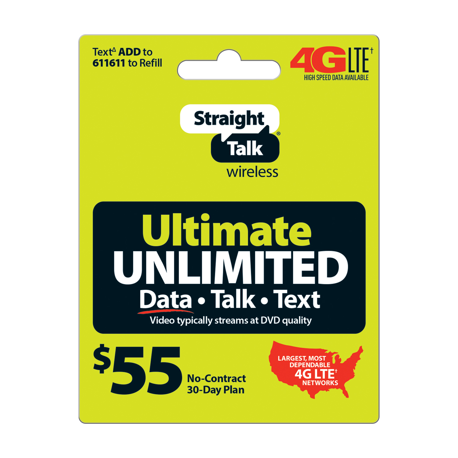 Straight Talk Ultimate Unlimited Prepaid Phone Plan, for No Contract Cell Phone Service, Unlimited 4G LTE Data+Talk+Text, $55